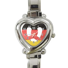 Pretzel in Hand-Painted Water Colors of German Flag Heart Italian Charm Watch