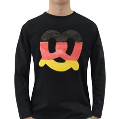 Pretzel in Hand-Painted Water Colors of German Flag Long Sleeve Dark T-Shirts