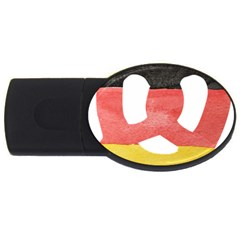 Pretzel in Hand-Painted Water Colors of German Flag USB Flash Drive Oval (4 GB)