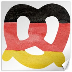 Pretzel in Hand-Painted Water Colors of German Flag Canvas 16  x 16