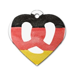 Pretzel in Hand-Painted Water Colors of German Flag Dog Tag Heart (One Side)