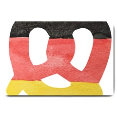 Pretzel in Hand-Painted Water Colors of German Flag Large Doormat