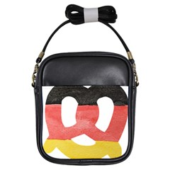 Pretzel in Hand-Painted Water Colors of German Flag Girls Sling Bags