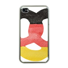 Pretzel in Hand-Painted Water Colors of German Flag Apple iPhone 4 Case (Clear)