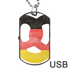 Pretzel in Hand-Painted Water Colors of German Flag Dog Tag USB Flash (One Side)