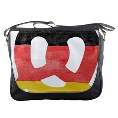Pretzel in Hand-Painted Water Colors of German Flag Messenger Bags