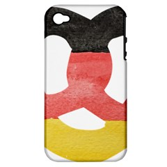 Pretzel in Hand-Painted Water Colors of German Flag Apple iPhone 4/4S Hardshell Case (PC+Silicone)