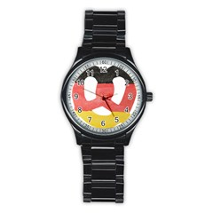 Pretzel in Hand-Painted Water Colors of German Flag Stainless Steel Round Watch