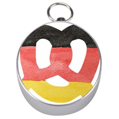 Pretzel in Hand-Painted Water Colors of German Flag Silver Compasses