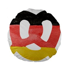 Pretzel in Hand-Painted Water Colors of German Flag Standard 15  Premium Flano Round Cushions