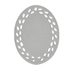 Grey and White simulated Carbon Fiber Oval Filigree Ornament (Two Sides)