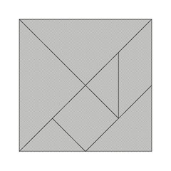 Grey And White Simulated Carbon Fiber Acrylic Tangram Puzzle (6  X 6 )