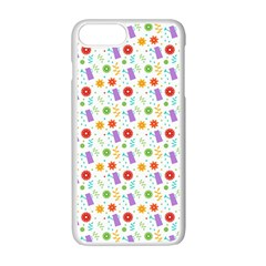 Decorative Spring Flower Pattern Apple Iphone 7 Plus White Seamless Case