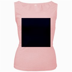 Classic Navy Blue Solid Color Women s Pink Tank Top