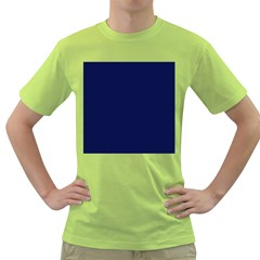 Classic Navy Blue Solid Color Green T-Shirt