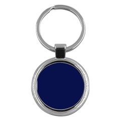 Classic Navy Blue Solid Color Key Chains (Round)