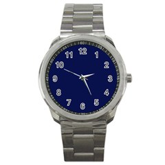 Classic Navy Blue Solid Color Sport Metal Watch