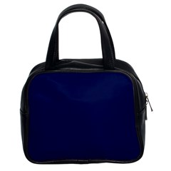 Classic Navy Blue Solid Color Classic Handbags (2 Sides)