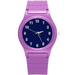 Classic Navy Blue Solid Color Round Plastic Sport Watch (S)