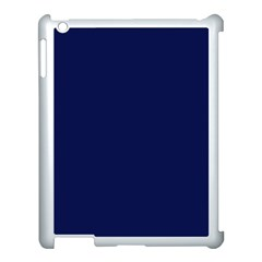 Classic Navy Blue Solid Color Apple iPad 3/4 Case (White)
