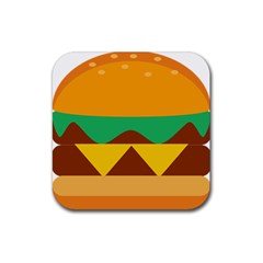 Hamburger Bread Food Cheese Rubber Square Coaster (4 pack)