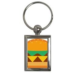 Hamburger Bread Food Cheese Key Chains (rectangle)