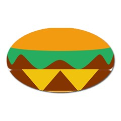 Hamburger Bread Food Cheese Oval Magnet