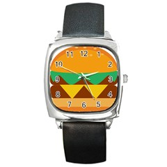 Hamburger Bread Food Cheese Square Metal Watch