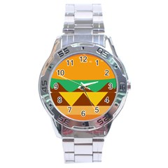Hamburger Bread Food Cheese Stainless Steel Analogue Watch
