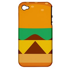 Hamburger Bread Food Cheese Apple iPhone 4/4S Hardshell Case (PC+Silicone)