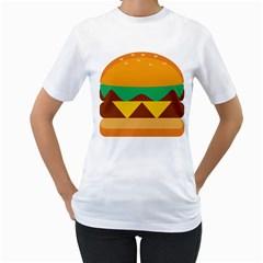 Hamburger Bread Food Cheese Women s T-Shirt (White)