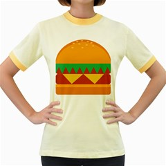 Burger Bread Food Cheese Vegetable Women s Fitted Ringer T Shirts