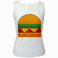 Burger Bread Food Cheese Vegetable Women s White Tank Top