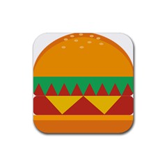 Burger Bread Food Cheese Vegetable Rubber Square Coaster (4 pack)