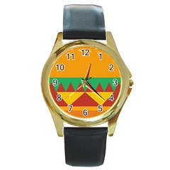 Burger Bread Food Cheese Vegetable Round Gold Metal Watch