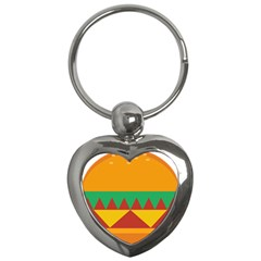 Burger Bread Food Cheese Vegetable Key Chains (heart)