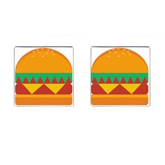 Burger Bread Food Cheese Vegetable Cufflinks (Square)