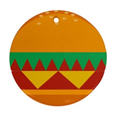 Burger Bread Food Cheese Vegetable Round Ornament (Two Sides)