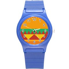 Burger Bread Food Cheese Vegetable Round Plastic Sport Watch (S)