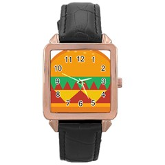 Burger Bread Food Cheese Vegetable Rose Gold Leather Watch