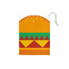 Burger Bread Food Cheese Vegetable Drawstring Pouches (Small)