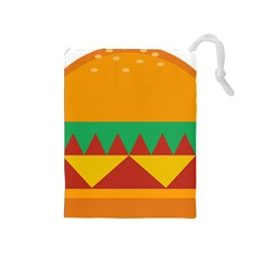 Burger Bread Food Cheese Vegetable Drawstring Pouches (Medium)