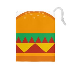 Burger Bread Food Cheese Vegetable Drawstring Pouches (large)