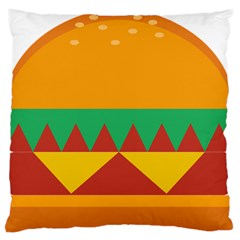 Burger Bread Food Cheese Vegetable Large Flano Cushion Case (Two Sides)