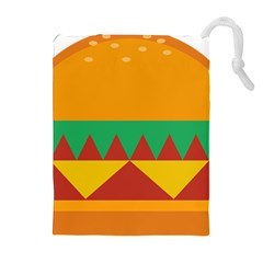 Burger Bread Food Cheese Vegetable Drawstring Pouches (Extra Large)