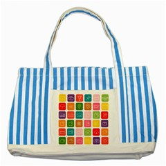 Icons Vector Striped Blue Tote Bag