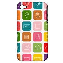 Icons Vector Apple Iphone 4/4s Hardshell Case (pc+silicone)