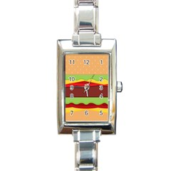 Vector Burger Time Background Rectangle Italian Charm Watch