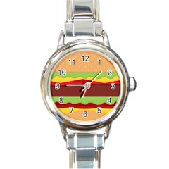 Vector Burger Time Background Round Italian Charm Watch