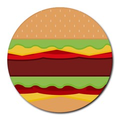 Vector Burger Time Background Round Mousepads